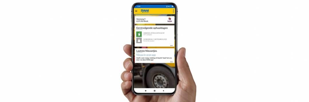 Screenshot van RWM-app